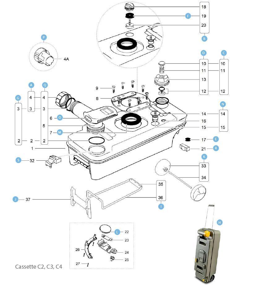 Cassette thetford C2 C3 C4